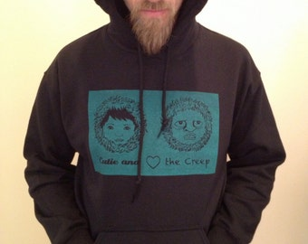 Cutie and the Creep Hoodie in Black/Turquoise