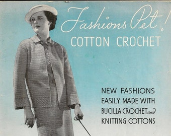 A Women's Fashion Instruction/Pattern Book for Crochet: Bucilla Vol. 103 ©1935 - Original Book