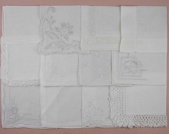 Vintage Hanky Lot,Wedding Hanky Lot,One Dozen White Wedding Vintage Hankies Handkerchiefs (Lot #98)