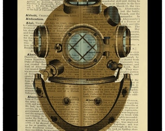 Diver Helmet Diving Nautical Vintage - Dictionary Print Book Page Art