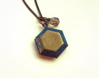Antique Bronze Hexagon Locket Necklace, Vintage locket pendant, Czech glass bead, Antique bronze curb chain