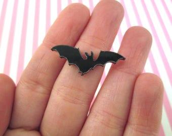 5 Black Laser Cut Acrylic Bat Cabochons, Cute Halloween Cabs #426