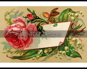 Instant Digital Download, Antique Victorian Graphic, Rose Calling, Place Card, Label, Spring Printable Image Scrapbook Place Card, Wedding