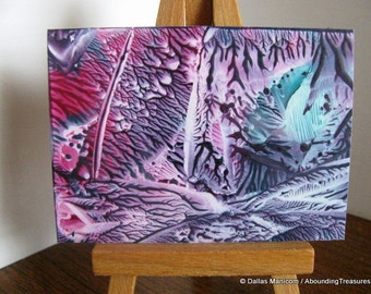 ACEO Teal, Violet Abstract Encaustic (Wax) Original Miniature Painting. Collectible Art. SFA (Small Format Art)