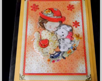 """card 3D """"girl with Red Hat"""""""