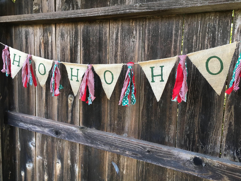christmas banner burlap christmas ho ho ho ho ho ho banner rag tie banner holiday banner - Burlap Christmas Banner