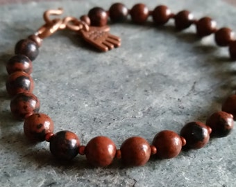 MAHOGANY OBSIDIAN BEAD Bracelet with Copper Clasp. Choice of 6mm or 8mm Beads. Mens Womens Brown & Black Natural Stone Bracelet. All Sizes.