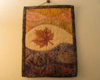 """Little Brown Maple Leaf – Quilted Wall Hanging – 9"""" x 7"""""""