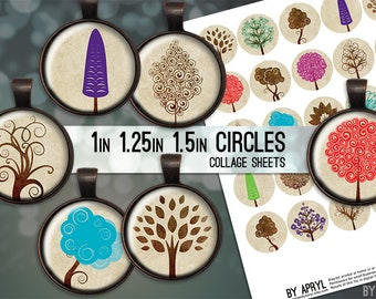 """Trees Colorful and Brown 1"""" 1.25"""" and 1.5 Inch Circles Digital Collage Sheet for Glass and Resin Pendants Bottle Caps Digital Download JPG"""