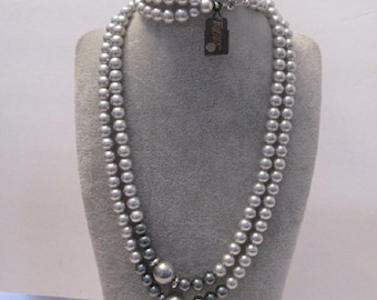 "Vintage Signed Trifari Double Strand Faux Pearl Necklace 28""  Brand New"