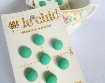 Green Vintage Buttons, Kelly Green Buttons, Vintage, Button Card, Carded Buttons, Candy Buttons, Round Buttons, Shank, Japan, Le Chic