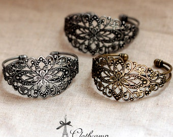 2PCS Antique Bronze /Antiqued Silver Filigree Cuff Bracelet Setting NICKEL FREE(CBS-1.2)