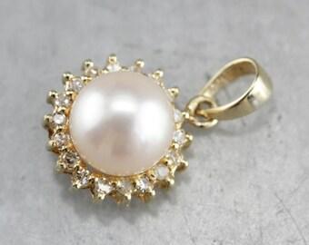 Pearl and Diamond Halo Pendant, Bridal Jewelry, Pearl Anniversary, Pearl Gold Pendant K685W5E6