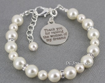 Swarovski Bracelet Gift for Mother of the Bride Thank you for raising the woman of my dream Pearl Bracelet Mother of the Bride Bracelet