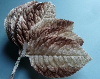 12 Mocha Beige Leaves Velvet Vintage Japanese for Bridal, Boutonnieres, Bouquets, Millinery ML 94