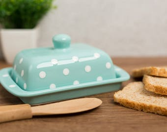 Teal Covered Butter Dish with Lid, Ceramic Butter Keeper, European Style White Polka Dot, Stoneware Handmade Pottery, Housewarming Gift