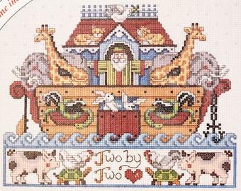 Noah's Ark Counted Cross Stitch Kit w/ Frame – Bucilla Pattern - New Baby Nursery Vintage Embroidery Kit