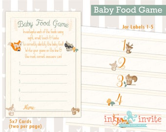 Sweet Woodland Baby Shower Baby Food Game Instant Download | Forest Friends Baby Shower Guess Baby Food | Woodland Animals