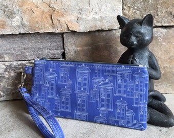 Doctor Who Tardis inspired zipper pouch - ready to ship