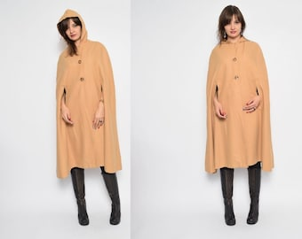 Vintage 70's Wool Coat Cape / Khaki Wool Cape / Hooded Button Cape / Hooded Wool Coat - Size Small