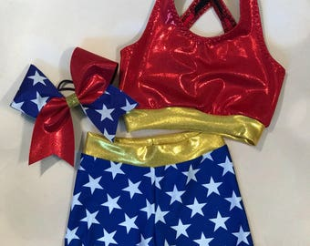 """The """"Super Hero"""" Sports Bra, Star Shorts, and optional matching Cheer Bow / Girls Dancewear / Practice Outfit / Star Cheer Bow"""