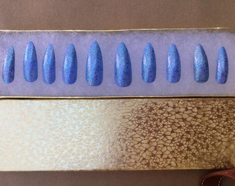 Set of 20- Hand painted blue sparkly false nails - sparkly press on nails - Fake Nails - set of 20 any style -
