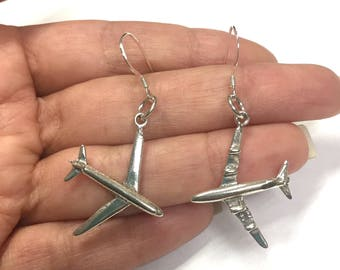 Airplane Charm Earrings Sterling Silver 925 Air Plane Pilot Stewardess Dangle Drop Jewelry