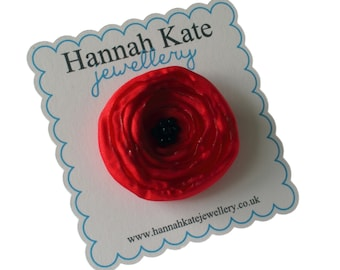 Small Red Poppy Fabric Flower Brooch