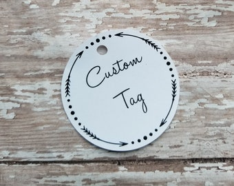 "Custom Circle Tags, 2.5"" Circle Tags, Tag with Arrows, Rustic Wedding Tag, Distressed, Bridal Shower, Baby Shower, Label, Party Favor (004)"