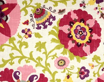 Silsila Cherry Cream Pink Green Purple Linen Suzani Floral Fabric