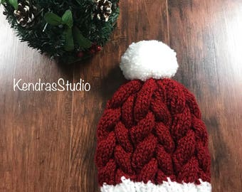 Ready to ship / santa hat / cable braided hat / knit hat / pom pom hat / red and white pom pom hat / christmas hat / holiday hat