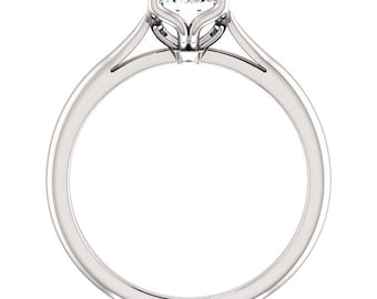 1.00 ctw Solitaire Engagement Ring, Swarovski Cubic Zirconia  Wedding Ring  In Solid 10K White Gold