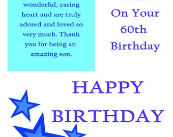 Son 60 Birthday Card with removable laminate