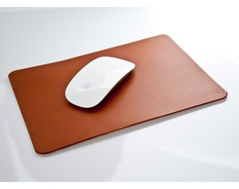 Leather Mouse Pad in Beech Nut, Leather Pad,Leather Desk Mat,Leather Desk Pad,Leather Tablet Mat,Mens Gift