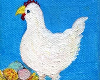 Chicken mini canvas art, easel, White Chicken art, miniature hen painting, small chicken decor, kitchen art, chicken lover