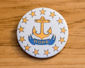 Hope Anchor Pinback Button - Rhode Island Pin
