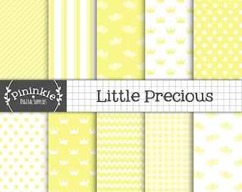 Baby Digital Paper, Yellow Digital Scrapbooking Paper, Baby Boy, Baby Girl, Baby Shower Printable Paper