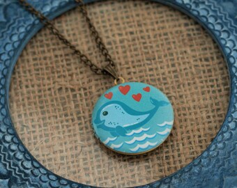 Whale Locket Necklace, Blue Whale Necklace, Sealife Jewelry