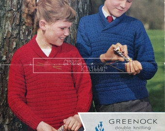 "Child's Sweater DK 22-32"" Greenock 97 Vintage Knitting Pattern PDF instant download"