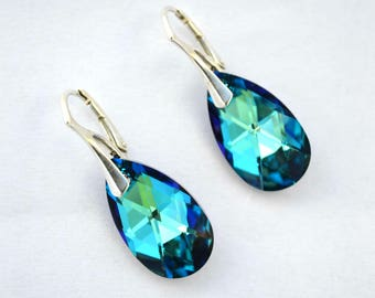 Swarovski Crystal Earrings Wedding earrings Bermuda Blue crystal Bridesmaid earrings silver hooks