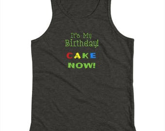 Youth Its My Birthday CAKE Now Green Kids Tank Top Shirt