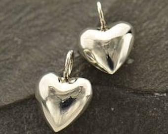 Silver 3D Heart Charm, Silver Puffy Heart Charm, 925 Silver. Item 151.