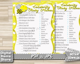 Baby Shower Celebrity Game Printable Bee - Celebrity Baby Shower Game Yellow - Celebrity Name Game Bumble Yellow - Instant Download - bee1
