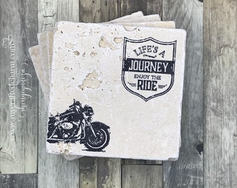 Hand Stamped Tile Coasters | Life's a Journey