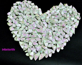 365pcs Medium Size White Color 3D Origami Hearts 'LOVE'. (RS paper series). #FOH-145.