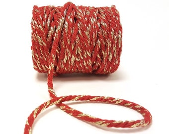 Red with Gold Sparkle 5mm Chunky Cotton Bakers Twine *Sold Per Metre*