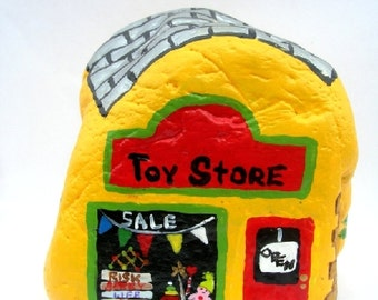 Hand Painted Rock Toy Store Shop Colorful Personalized Original