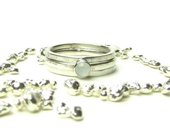 Aquamarine Set of Three Sterling Silver Stacking Rings - Ready to Ship  Size 7