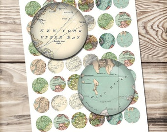 Vintage world map digital paper for jewelry making, New York, London city maps 20mm-30mm you can choose