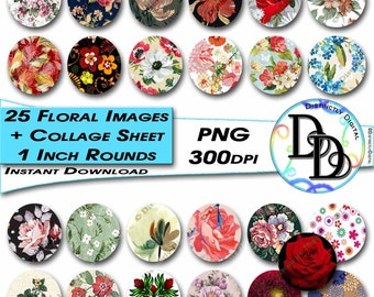 "Floral 1"" Round Images Collage Sheet Printable Flower Clipart Pictures Commercial Use Graphic Clip Art Instant Digital Download File PS0001"